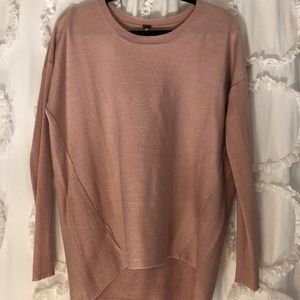High-Low Light Pink Sweater with Ribbed Back